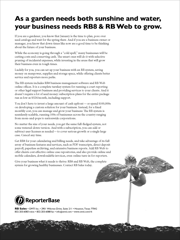 January 2009 ReporterBase ad