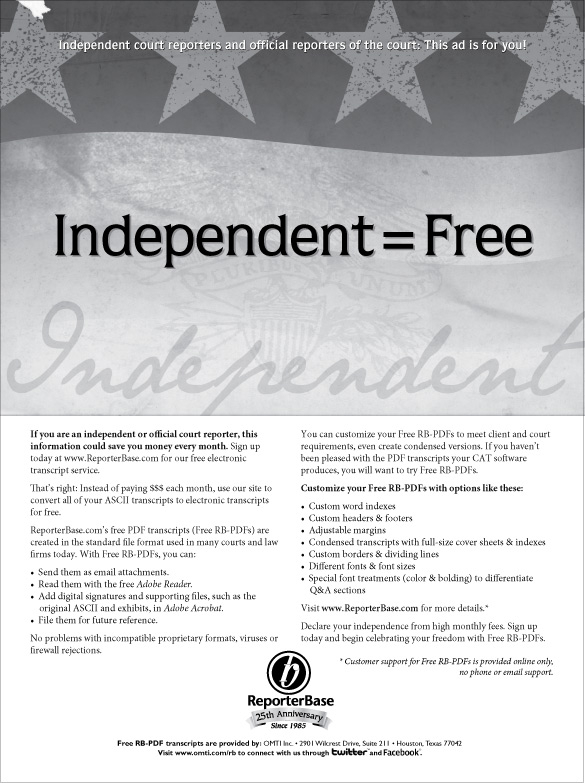 July/August 2010 ReporterBase ad