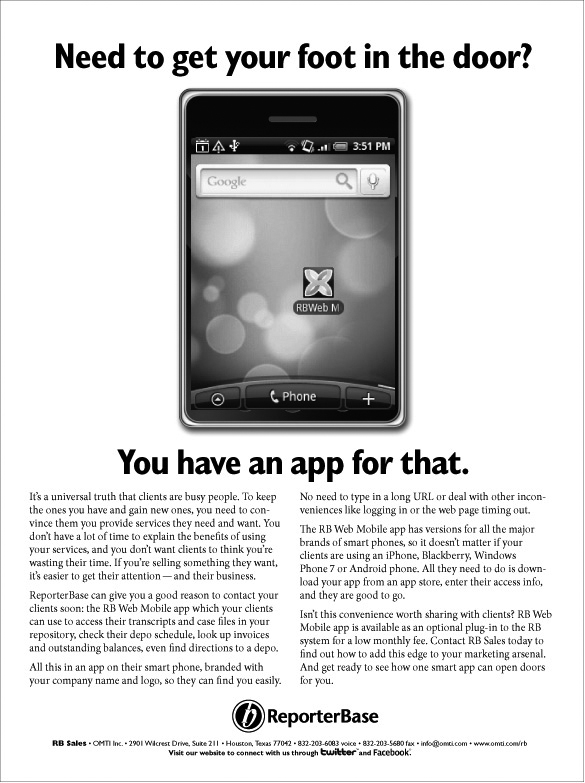 March 2011 ReporterBase ad