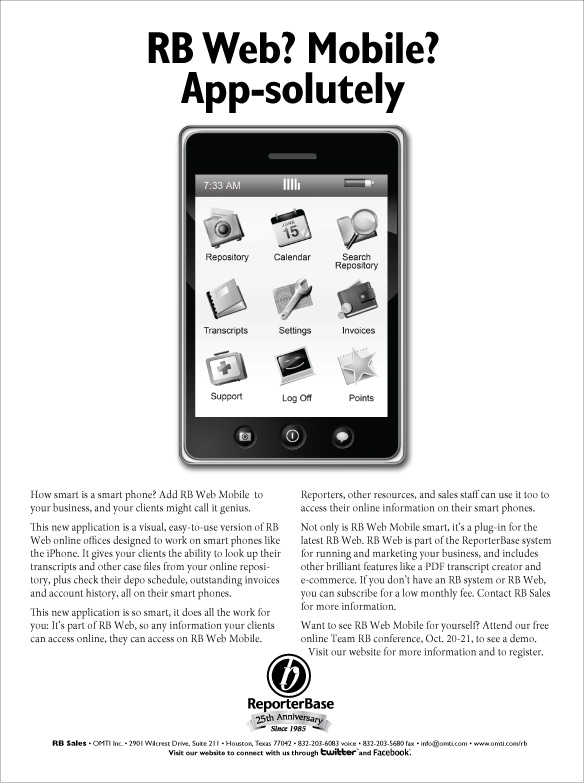October 2010 ReporterBase ad