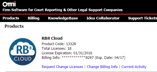 Customer Portal-RB8 Cloud CALs