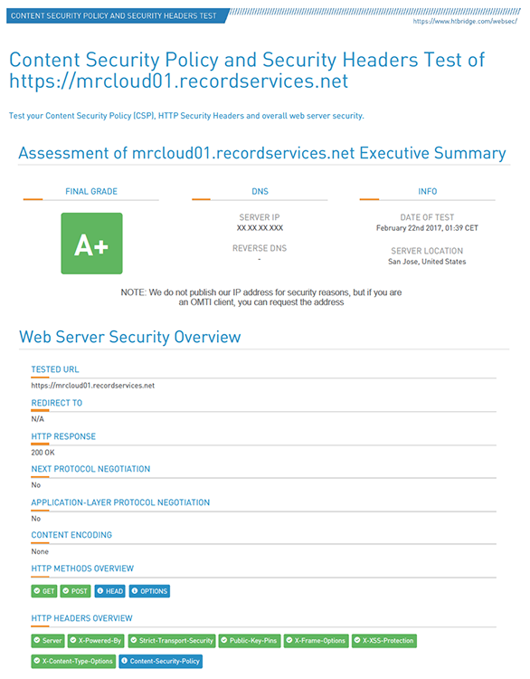 MR Web 8 security rating