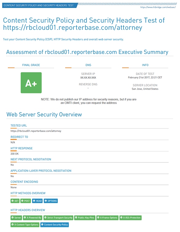 RB Web 8 security rating