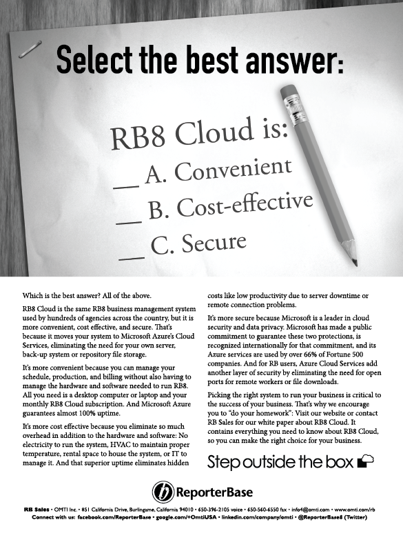 September 2017 ReporterBase ad in the Journal of Court Reporting