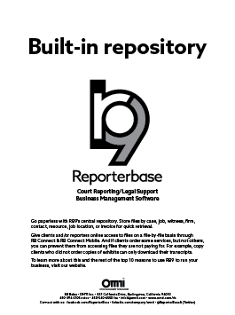 October 2019 ReporterBase ad in the Journal of Court Reporting