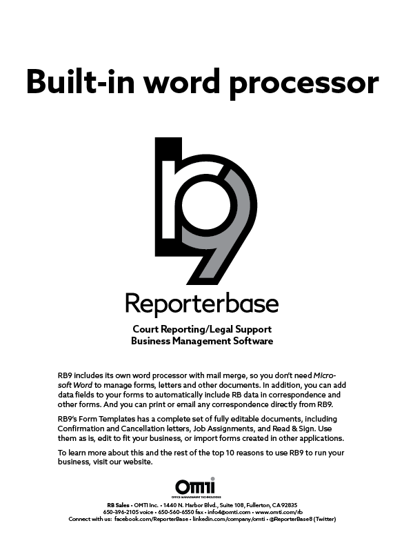 November/December 2019 ReporterBase ad in the Journal of Court Reporting