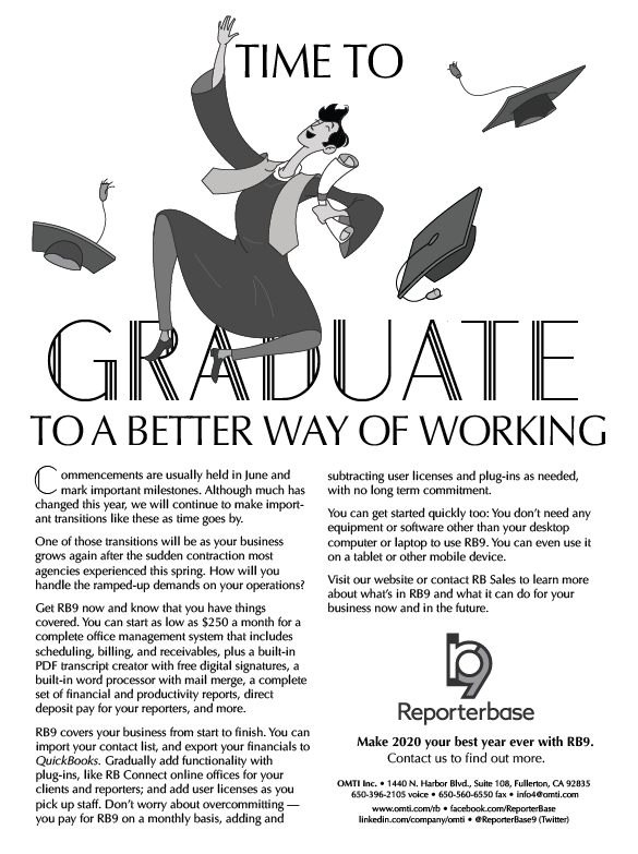 June 2020 ReporterBase ad in the Journal of Court Reporting