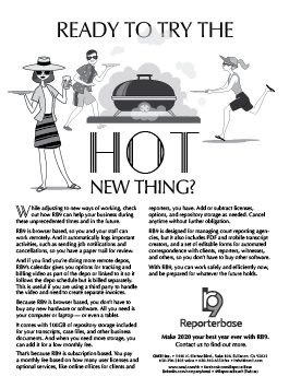July August 2020 ReporterBase ad in the Journal of Court Reporting